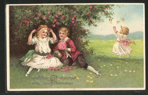 AK Junge überreicht mädchen einen Blumenstrauss, Namenstag