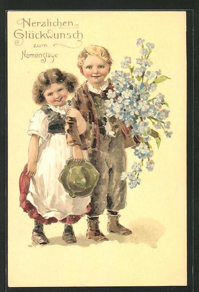 AK niedliches Kinder mit Hut und Blumenstrauss, Namenstag