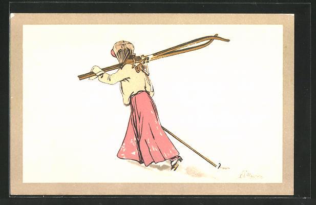 Künstler-AK Carlo Pellegrini: Wintersportlerin mit geschulterten Skiern