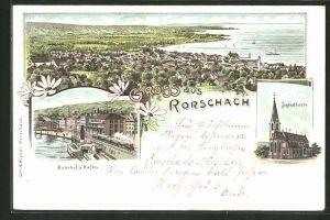 Lithographie Rorschach, Jugendkirche, Bahnhof & Hafen, Gesamtansicht