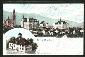 AK Zürich-Wiedikon, Kirche und Schulhäuser aus der Vogelschau