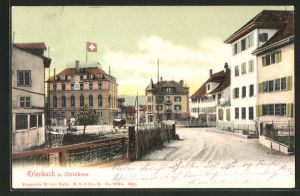 AK Erlenbach a. Zürichsee, Strassenpartie mit Hotel zum Kreuz
