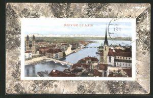 AK Zürich, Teilansicht mit Blick auf die Alpen