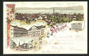Lithographie Pfäffikon, Gasthaus zur Krone, Schulhaus, Hauptstrasse, Ortspanorama