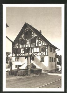 AK Grüningen, Riegelhaus und Stadtbrunnen