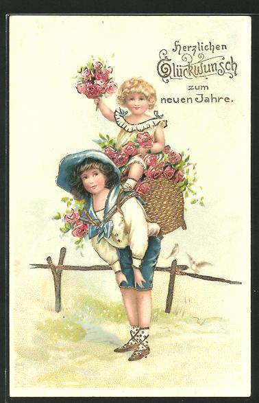 Präge-AK Neujahrsgruss, Kinder mit Kiepe voller Rosen