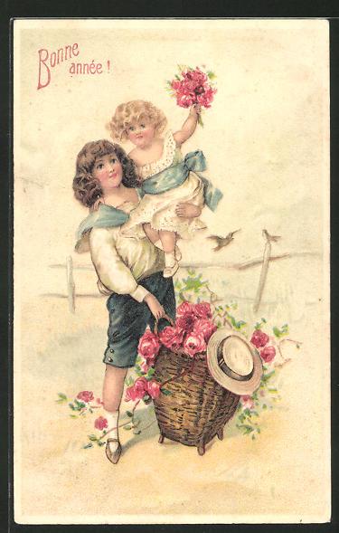 Präge-AK Bonne année!, Neujahrsgruss, Kinder mit Rosen