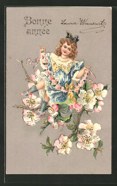 Präge-AK Bonne année, Neujahrsgruss, Mädchen sitzt auf einem blühenden Zweig