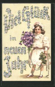 Präge-AK Mädchen wünscht viel Glück im neuen Jahr