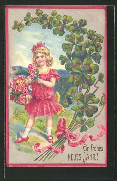 Präge-AK Neujahrsgruss, Blondgelocktes Mädchen mit Rosen und Klee