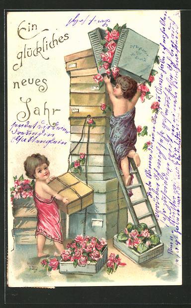 Präge-AK Neujahrsgruss, Kinder verpacken Rosen in Geschenkkisten