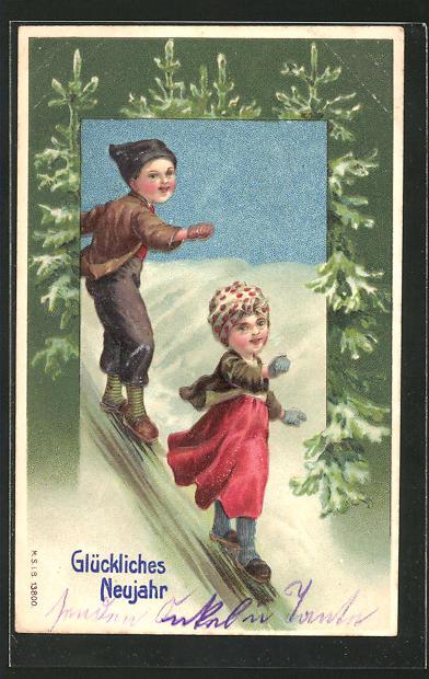 Präge-AK hübsches Kinder spielen im Schnee, Tannenbaum und Neujahrsgruss