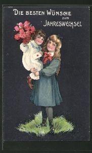 Präge-AK Neujahr, hübsche Mädchen mit Blumenstrauss und Brief