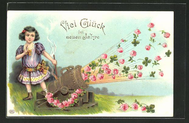 Lithographie Neujahrsgruss, Salutschuss mit Rosen