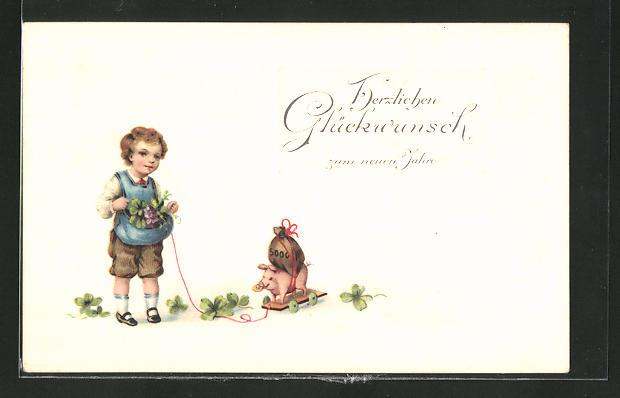 Präge-AK Neujahrsgruss, Knabe mit Glücksschwein und Klee