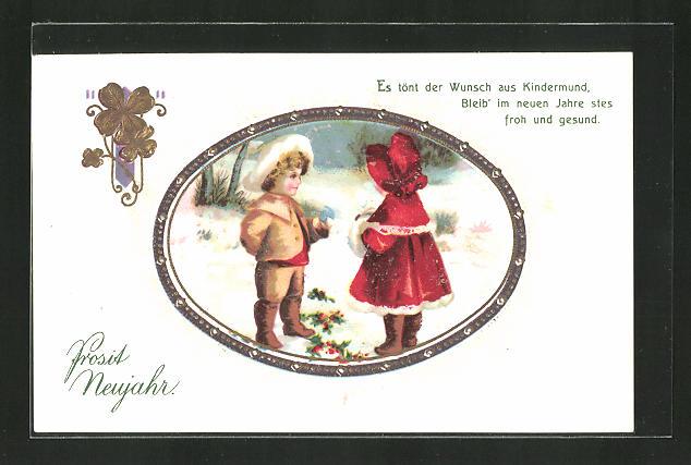 AK Kinder in Winterkleidung wünschen sich ein Frohes Neues, \