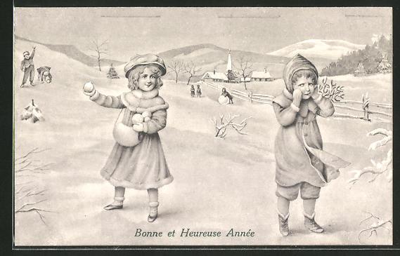 AK spielende Kinder im Schnee,