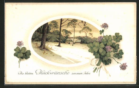 Präge-AK Neujahrsgruss, Kleeblätter und Haus im Schnee
