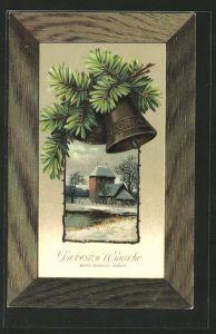 Präge-AK Kirche im Winter, Glocken am Tannenzweig, Neujahr