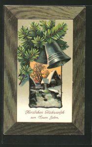 Präge-AK Flusspartie im Winter, Glocken am Tannenzweig, Neujahr