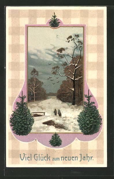 AK Waldpartie im Schnee, Tannenbäume und Neujahrsgruss