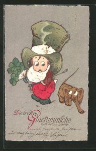 AK Kind mit übergrossem Hut hält Glücksklee in der Hand und erschrickt vor dem Hund, Neujahr