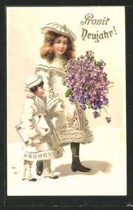 AK Kinder mit Vergissmeinnicht-Blumenstrauss und grossem Brief,