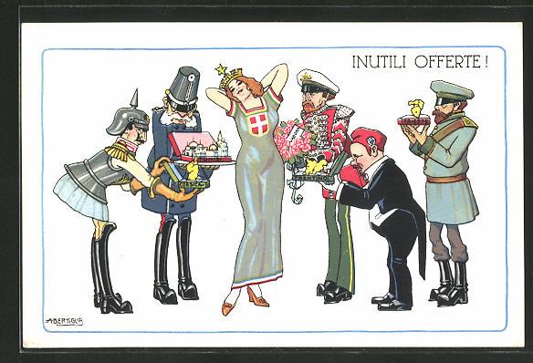 Künstler-AK A. Bertiglia: Inutili Offerte!, Kaiser Franz Josef I. von Österreich wirbt um die Helvetia