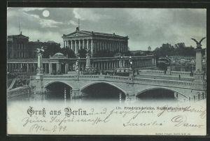 Mondschein-AK Berlin, Friedrichsbrücke und Nationalgallerie