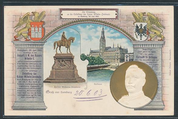 Präge-AK Hamburg, Enthüllung des Kaiser Wilhelm II. Denkmals, Rathaus