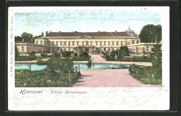 Goldfenster-AK Hannover, Schloss Herrenhausen mit leuchtenden Fenstern