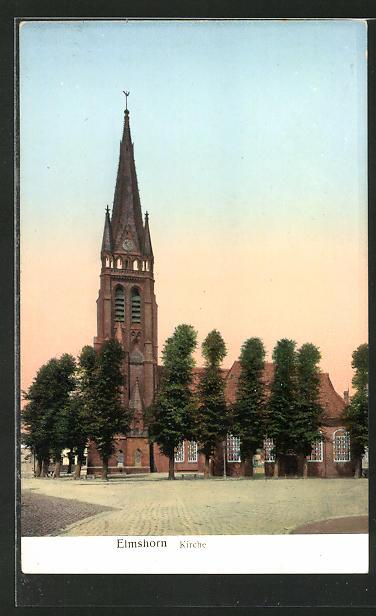 Goldfenster-AK Elmshorn, Kirche mit mit leuchtenden Fenstern