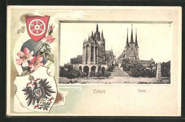 Passepartout-Lithographie Erfurt, Dom und Wappen