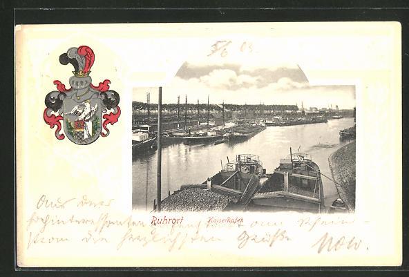Passepartout-Lithographie Ruhrort, Kaiserhafen und Wappen