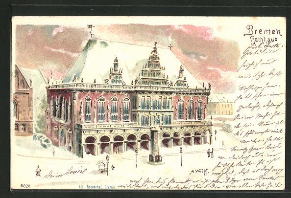 Winter-Lithographie Bremen, Motiv vom Rathaus