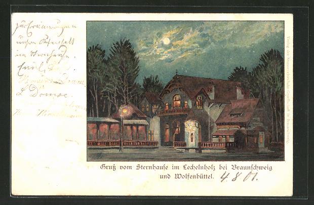 Lithographie Wolfenbüttel, Gasthaus Sternhaus im Lechelnholz bei Nacht