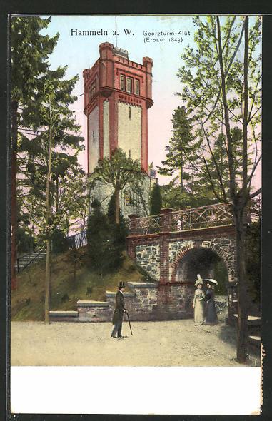 Goldfenster-AK Hameln, Georgturm-Klüt mit leuchtenden Fenstern