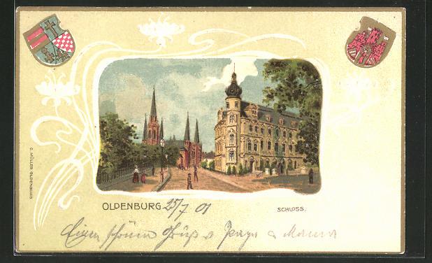 Passepartout-Lithographie Oldenburg, Strassenpartie am Schloss, Stadt-Wappen