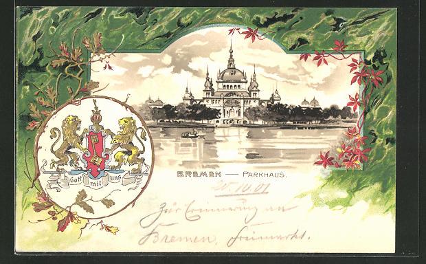 Passepartout-Lithographie Bremen, Blick zum Parkhaus, Stadt-Wappen