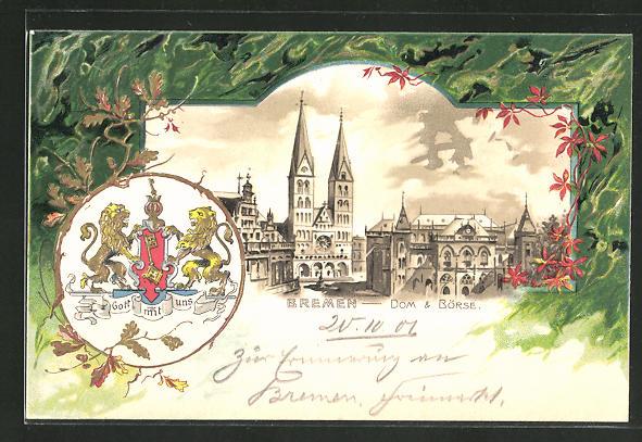 Passepartout-Lithographie Bremen, Blick auf Dom und Börse, Stadt-Wappen