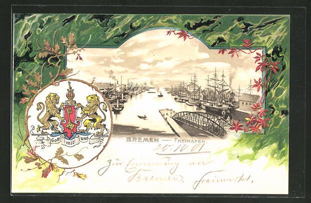 Passepartout-Lithographie Bremen, Blick auf den Freihafen, Stadt-Wappen