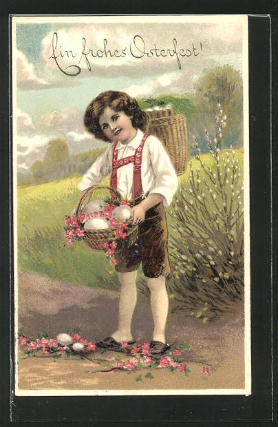 AK Junge mit Kiepe bei der Ostereier Jagd,