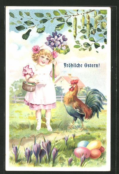 Präge-AK kleines Mädchen mit Hahn und Blumenstrauss, Fröhliche Ostern