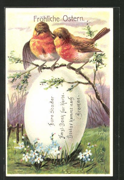 AK Vögel sitzen auf einem Ast über einem riesigen Osterei,