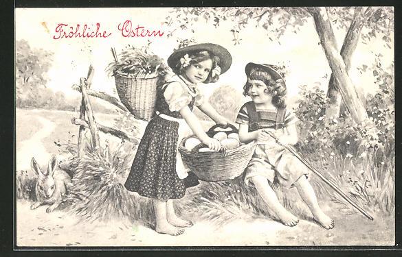 AK Fröhliche Ostern, Kinder mit Korb voll Eiern