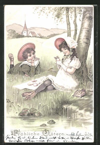 AK Ostern, Mädchen und Junge sitzen unter einem Baum am Fluss
