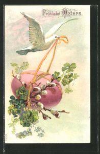 Präge-AK Fröhliche Ostern, Weisse Taube fliegt mit einem Osterei
