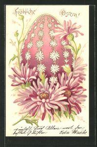 Lithographie Fröhliche Ostern!, Osterei und Astern
