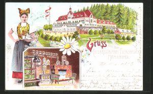 Lithographie Marienbad, Cafe & Restaurant Egerländer, Egerländer Wohnstube
