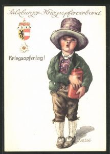 Künstler-AK Ulf Seidl: Salzburg, Salzburger Kriegsopferverband, Kriegsopfertag, Knabe mit Sammelbüchse